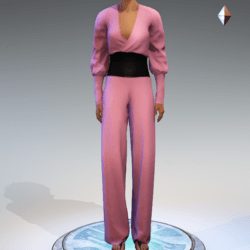 Wrapped Pantsuit - Linen and Leather - Pink