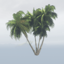 Tropical Palm Set with 4 Palms - Dark Green