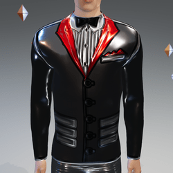 Gray-Red Peak Simulated Modern-Tux - Male