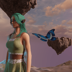 Animated Butterfly pet blue [Earing slot]