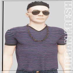 [URBAN FRESH] Mens Clean V neck pink striped shirt