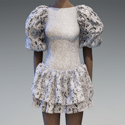 White lace large puff sleeve dress