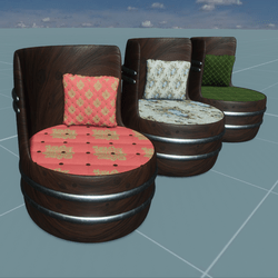 WOODEN STOOL/CHAIR - 3 COLORS FABRIC SHADDING