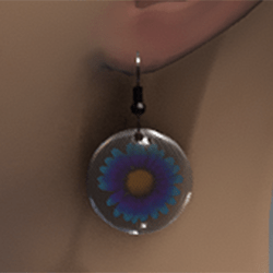 Blue & violet resin daisy earrings