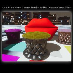 Gold-Silver Velvet-Cheetah Metallic Padded Ottoman Corner-Table