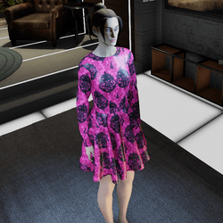Halloween Dress Pink w/ Black Skullz