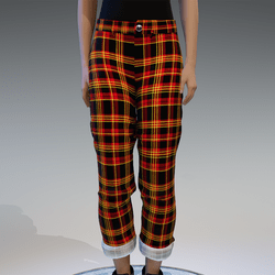 red & yellow checkerd pants
