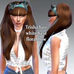 trisha white base -floral bow