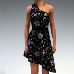 Shoulder Strap Dress in Painted Garden - Grey
