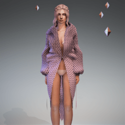 Cable Knit Coat Pink