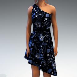 Shoulder Strap Dress in Painted Garden - Teal