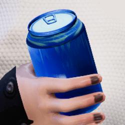 Bottle blue in arm