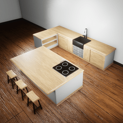 Kitchen wood and white.