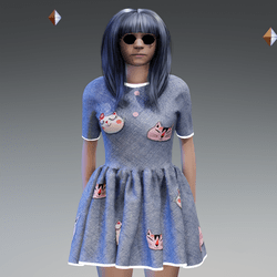 Denim Cats Button Dress