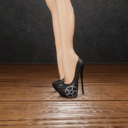 Black leather penta heels (slatanic mechanic)
