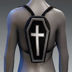 Metallic Coffin Cross Backpack [Silver]