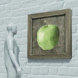 HandPainted Apple In Wooden Frame | Food Decor