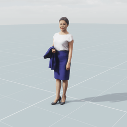 Asian business woman 3D scan static model