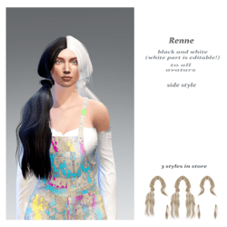 Renne side style-black n white base (the white part  is editable!)