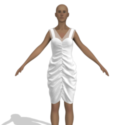 white dress with folds and transparency