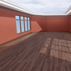 Skybox - Peach and Medium Brown - The Little Room With Ceiling Lamp