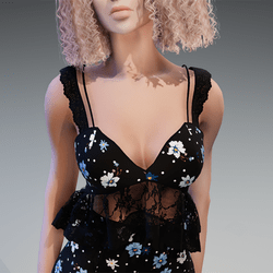 Lace Summer Top in Black with Flowers