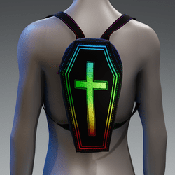 Metallic Coffin Cross Backpack [Rainbow]