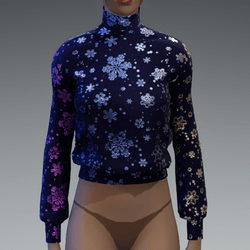 Gradient metallic brocade snowflakes blue sweater/jumper
