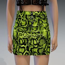 Plastic Snake Skirt in Yellow-Green