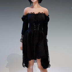 "Gothic Fairy Dress ""Fee"" in Black"