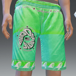 CCR Green Surfing Shorts w/Back Pocket - Male