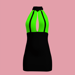 80's Bi-Colour Day-Glow Dress 04