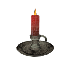 Red Candle on Candle Holder