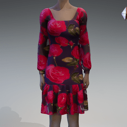 Roses chiffon dress