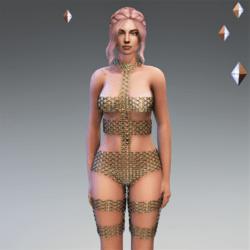 LeeLoo Bandage Bodysuit Golden Chain