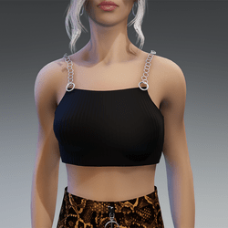 90s Vibes Top with Chains in Black