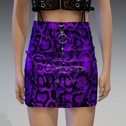 Plastic Snake Skirt in Purple