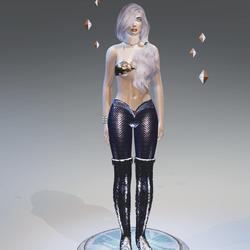 Lilac-1Tone Mermaid Leggings - Female