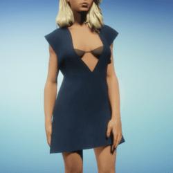 Deep 'V' Blue Dress