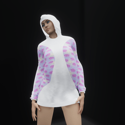 Hoodie Dress Pink Rose Moon and Stars (TM)