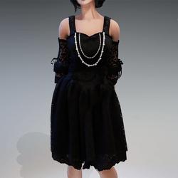 "Gothic Fairy Dress ""Rokoko"" with White Pearls"