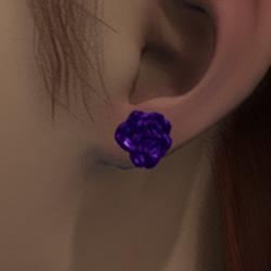 Violet rose stud earrings