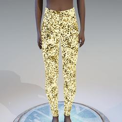 Emissive gold glitter leggings