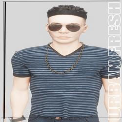 [URBAN FRESH] Mens Clean V neck blue striped shirt