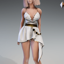 Rome Dress in White and Gold