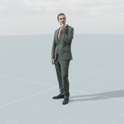Businessman grey standing 3D scan static model