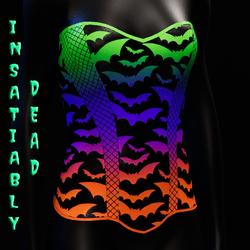 Halloween Bat Fishnet Corset [Gradient]
