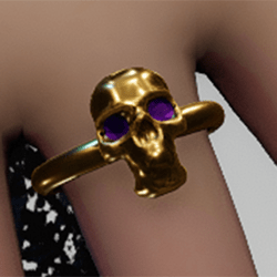 Gold amethyst skull ring