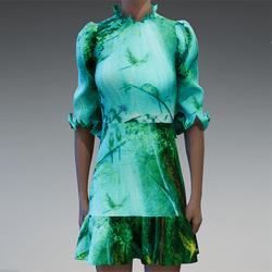 Forest budgies ruffle print dress