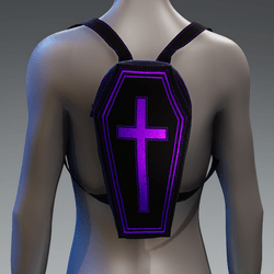 Metallic Coffin Cross Backpack [Purple]